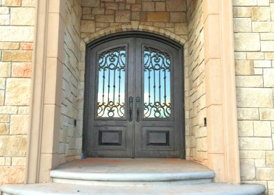 Custom Double Eyebrow Minimum Bronze with Kickplates on Stone Porch