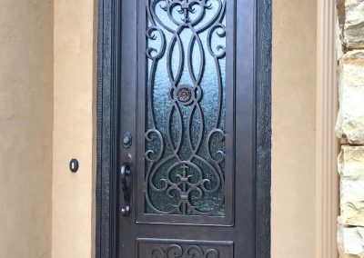 Custom Single Square Wooden Jamb with Eyebrow Door Intricate Design and Kickplate Minimum Bronze (1)