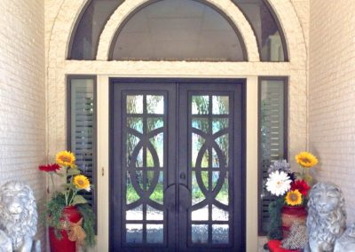 Custom Double Square Venn Diagram with Modern Panels and Big Split Transom Glass and Sidelights