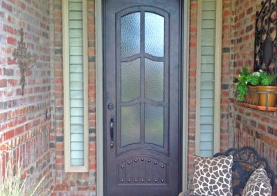 Custom Single French 6 Panel-Inspired Thin Door with Kickplate and Glass Sidelights