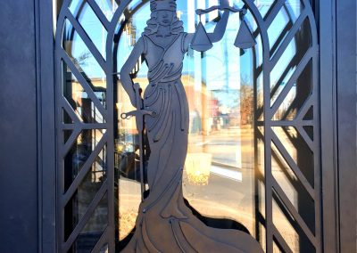 Custom Single Lady Justice on Law Firm Building (3)