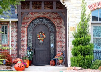 Custom Single Round with Wrap-Around Transom Dungeon Door with Fall Decorations MBR